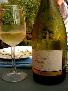Photo of Chablis Bottle and wine glass