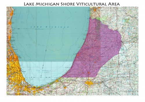 map of the Lake Michigan Shores AVA